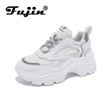 Fujin Sneakers Women Spring Dropshipping Thick Bottom Daddy Shoes Round Toe Breathing Leisure