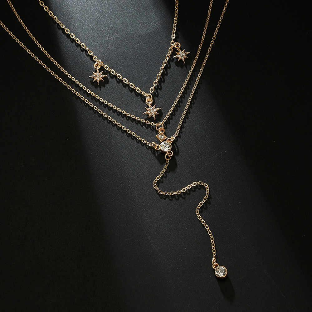 Kadın kolye paslanmaz çelik kristal çok katmanlı gerdanlık yaka kolye zincir kolye takı uzun moda altın