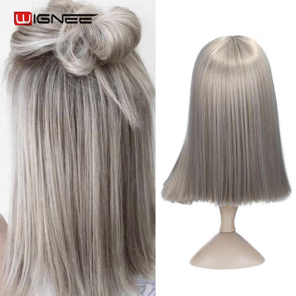 H48adc45a0ca24fa8b2399921cf6f06d5P - Wignee 2 Tone Ombre Brown Ash Blonde Synthetic Wig for Women Middle Part Short Straight Hair High Temperature Cosplay Hair Wigs