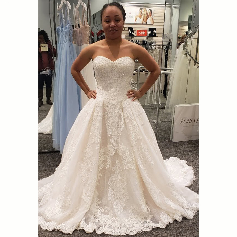 2020 Elegant Simple Lace Wedding Dresses Sweetheart Appliques Back With Button A Line Long Bridal Gowns Custom Made