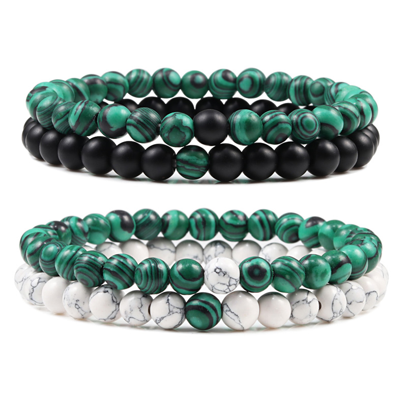 Couples Distance Beads Bracelet Classic Black Matte Green Malachite Bracelets Suitable Women Men Yoga Elastic Strand Jewelry