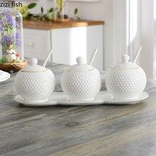 Seasoning Box Ceramic Kitchen Nordic Utensils Oil-And-Salt-Shaker Three-Piece