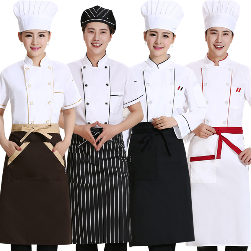 Wholesale Man Woman Restaurant Bakery BBQ Jacket Kitchen Cook Uniforms Double Breasted Breathable Chef Coat Apron Work Clothes
