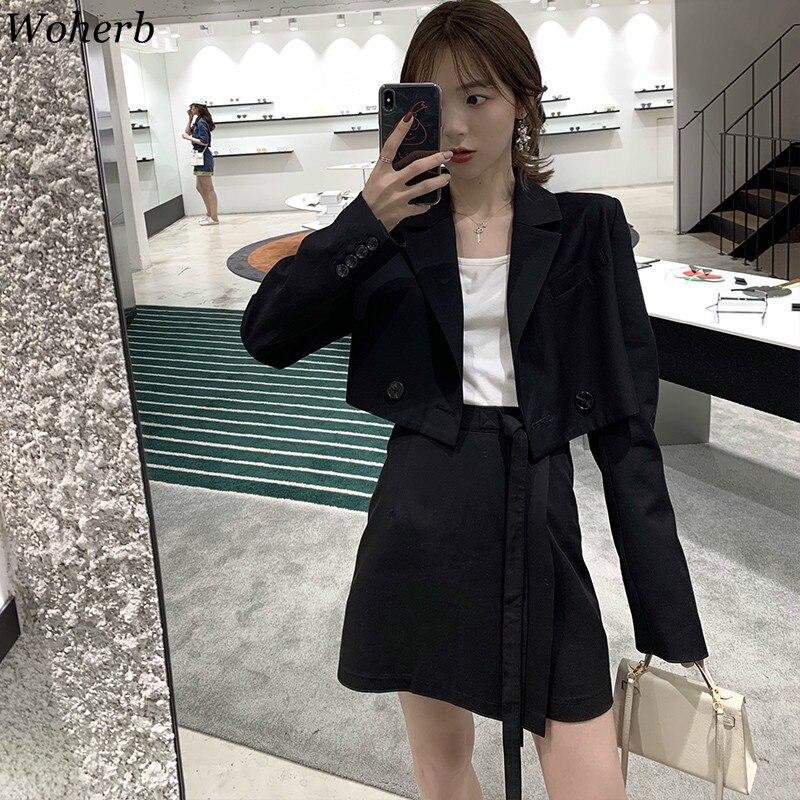 Woherb Crop Women Blazers And Jackets 2019 Korean Autumn Thin Short Coat Moids Office Lady Suit Jacket Blazer Feminino 22919