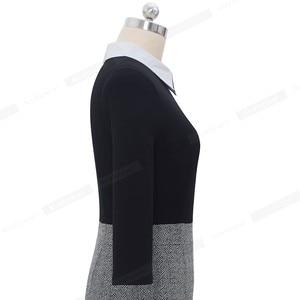 Image 5 - Женское лоскутное Деловое платье Nice forever, элегантное и облегающее платье контрастных цветов для офиса и вечерние, модель B568, 2019