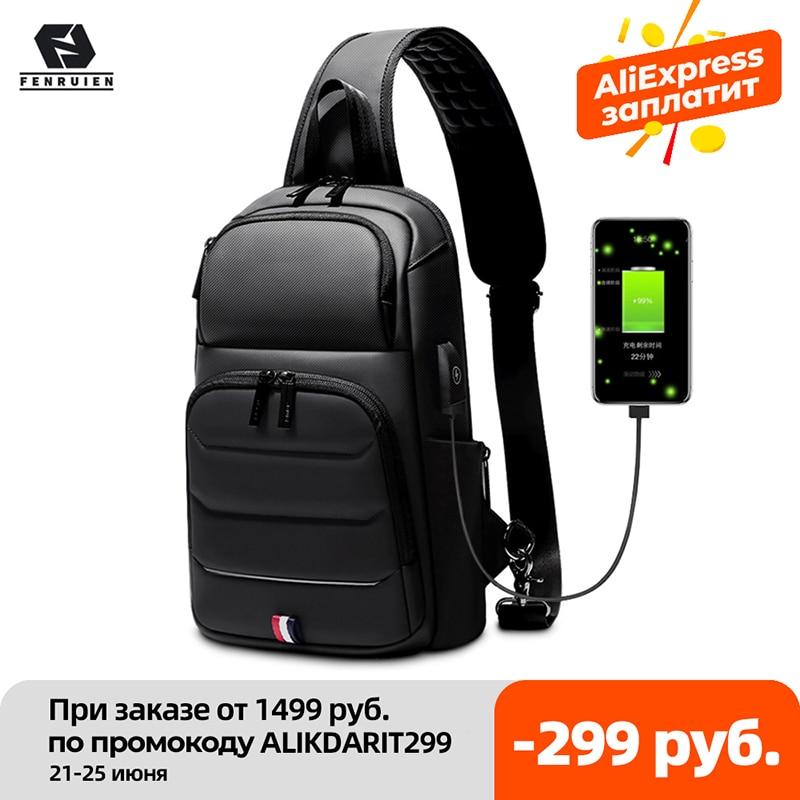 Fenruien Crossbody Bag For Men Waterproof USB Charging Shoulder Messenger Bags Male Short Trip Chest Bag Fit For 9.7 Inch iPad