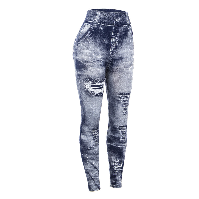 Women New Arrival Imitation Cowboy Printing Leggings Soft Skin Denim Slim Elasticity Pants Sexy Faux Jeans Fitness Legging