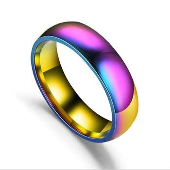 Women Jewelry Titanium Steel Ring Mirror Polished colorful couple Rings sd006 image