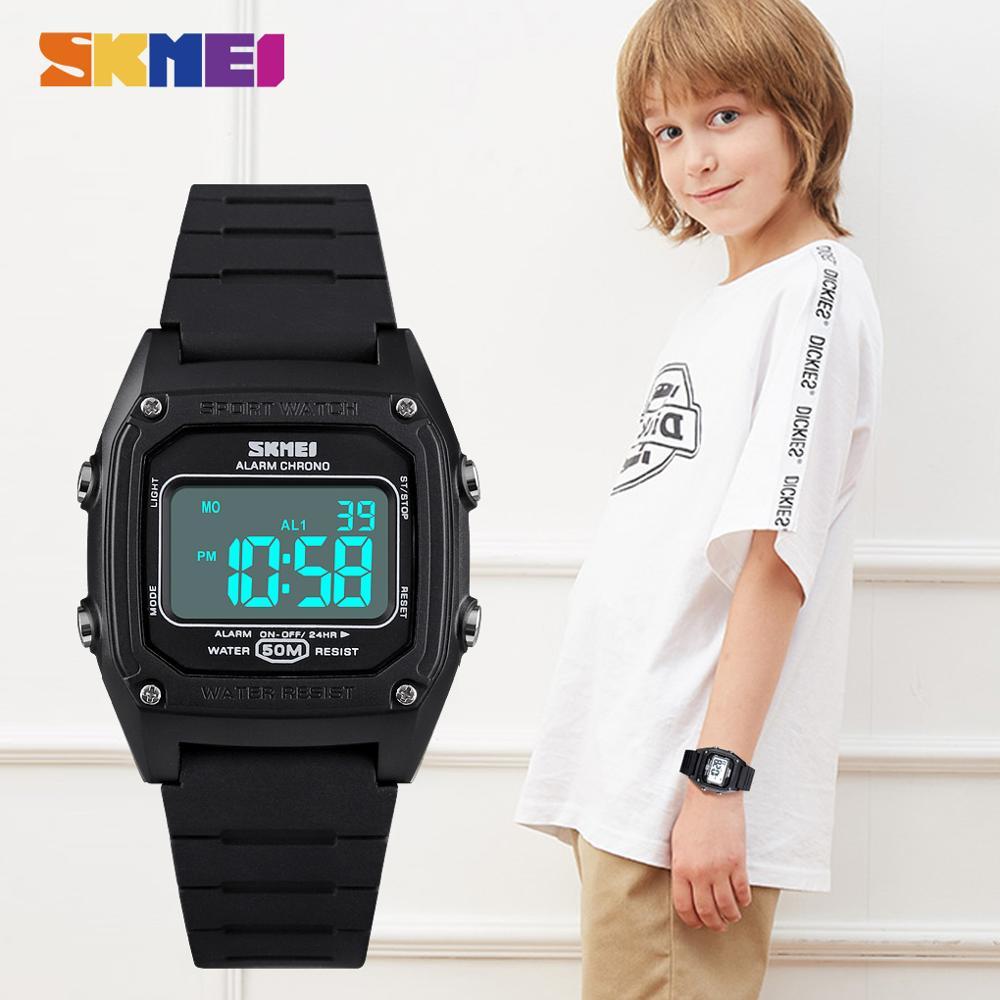 2020 SKMEI 5Bar Waterproof Wristwatch For Boys Girls Electronic Clock Children Digital Watch Military Kids Sport Watches 1614