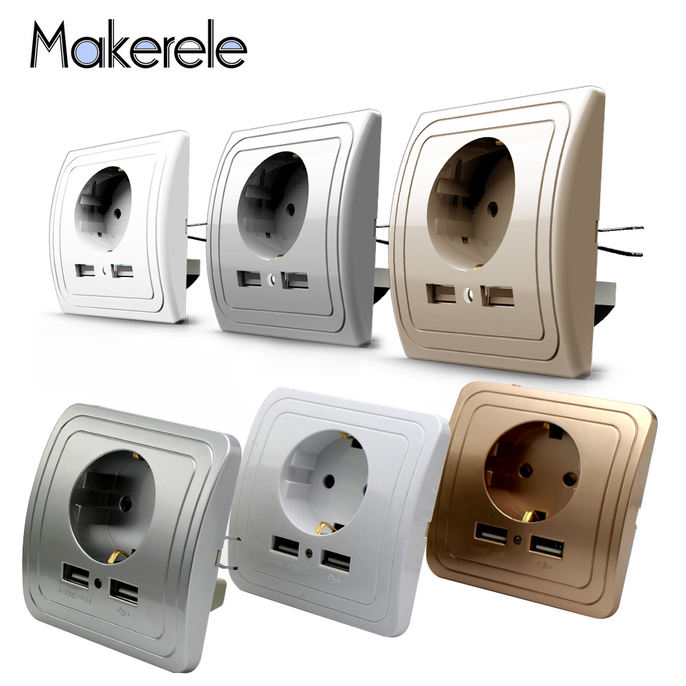 3 Colors Smart Home Adapter 16A EU Standard Outlet Electrical Plug Socket Power Outlet Panel 110 250V Wall Power Socket in Electrical Sockets from Home Improvement