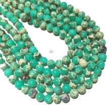 Natural Green Imperial Jasper Sediment Smooth Round Loose Beads Gemstone Healing Energy Jewelry For Making DIY Bracelet Necklace aaa high quality natural genuine clear green blue apatite fluorapatite round loose gemstone beads 15 05722