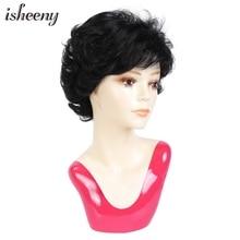 Human-Hair-Wig Isheeny Short Classic with 120%Density Remy Brazilian Pixie-Cut Wavy