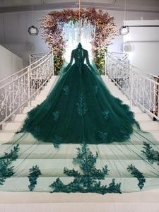 Image 2 - Tier שכבה חצאיות ארוך רכבת ירוק כדור שמלת חתונת שמלות 2019 ראפלס כלה חתונה שמלת טול Tessal חתונה שמלות