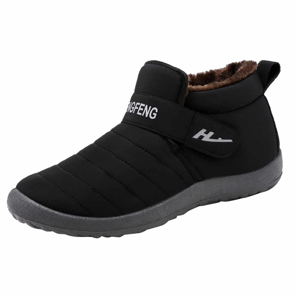 Kış sıcak artı kadife yarım çizmeler erkekler için moda büyük boy yüksek kaliteli kar botları erkek ayakkabısı kaymaz kışlık botlar zapatos