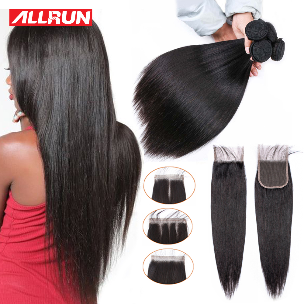 Allrun Straight Hair Bundles With Closure Brazilian Hair Weave Bundles Human Hair Bundles With Closure Non Remy Bundles Deal