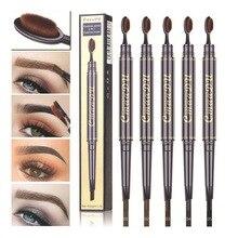 CmaaDu Eyebrow Pencil With Brush Double Head Pen Waterproof Long Lasting Pigments Tattoo Eye Makeup