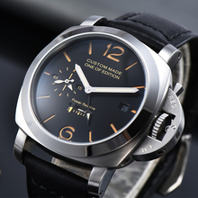 Automatic Mechanical Watch Men's 44mm GMT Leather Strap Powe