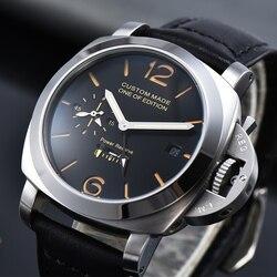Parnis автоматические механические часы для мужчин 44 мм GMT кожаный ремешок запас хода светящиеся военные водонепроницаемые часы для мужчин