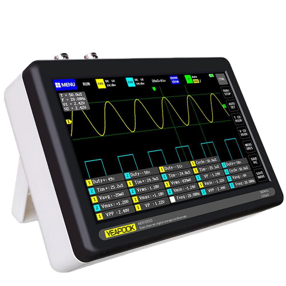 Kit portátil do osciloscópio do armazenamento da tabuleta de digitas de yeapook com 2 canais, largura de banda de 100mhz, taxa de amostragem 1gsa/s