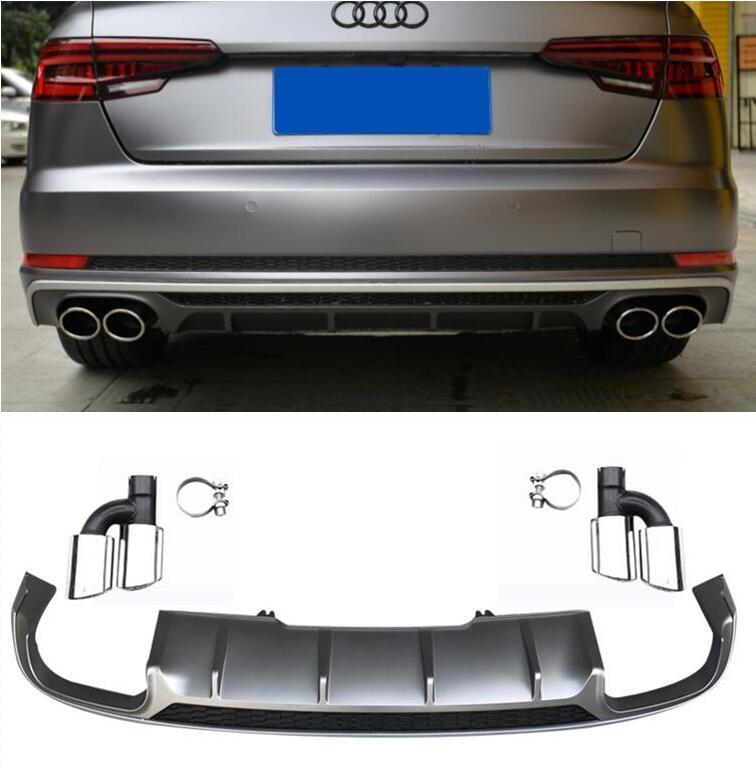Распылитель для заднего бампера ABS Paint 4 Outlet, диффузор с наконечниками для Audi A4 S4 B9 / Sline 2017 2018 2019