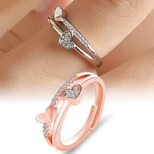 Women Ring Double Heart Hollow Band Rhinestone Inlaid Open Finger Ring Jewelry Gift engagement Ring Woman's accesories rhinestone engagement hollow out ring