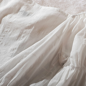 Cthink Spring 2020 New Slash Neck White Short Blouse Women Stylish Flare Sleeve Slim Soft Cotton Busas Good Summer Women's Dress 8