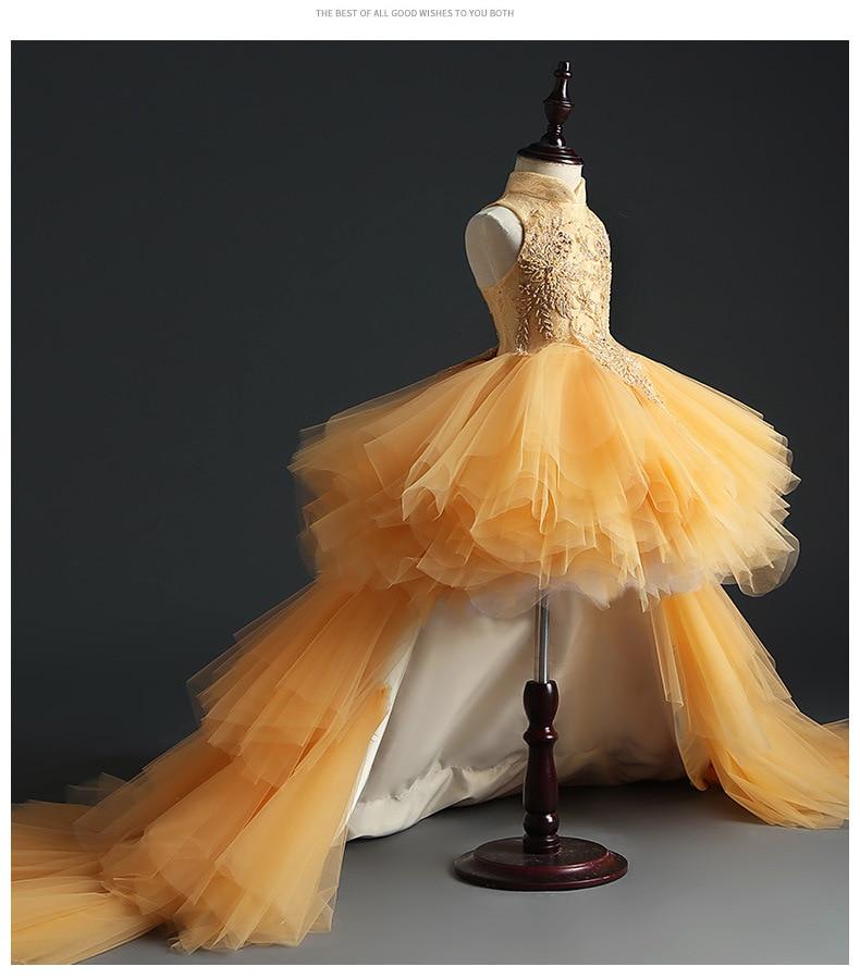 HS Kellio Flower Girl Dress Orange Ball Gown Tulle High Low Pageant Dresses Fashion Floor Length - 4
