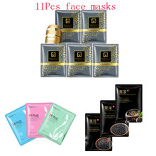 11Pcs mixed 24K Gold mask seaweed black rice beans Collagen Face Mask Moisturizing Whitening Anti-Aging Facial Masks skin care 300g 24k gold mask powder active gold crystal collagen pearl powder facial masks anti aging whitening mask bowl