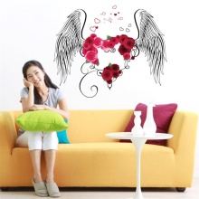 Romantic love feather DIY wall stickers home detachable PVC decorative wall 3D love feather sticker