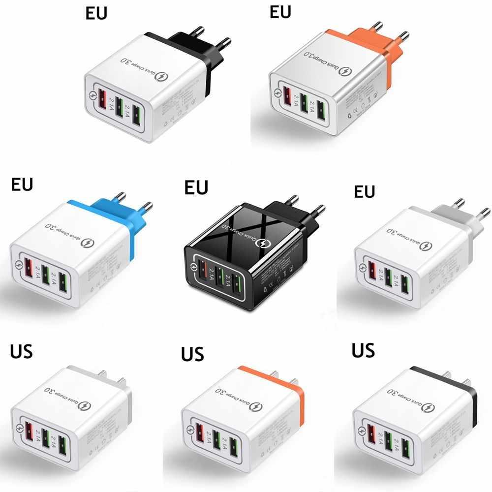 سطح المكتب 3 منافذ USB شاحن آيفون باد شاومي Samung مصباح ليد الاتحاد الأوروبي التوصيل 5 فولت 3A محول حائط الهاتف المحمول العالمي شحن