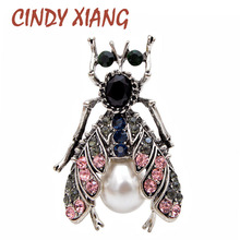 CINDY XIANG New 2018 Fashion Vintage Beetle Brooches for Women Cute Black Insect Jewelry Antique Silver Plated Good Gift