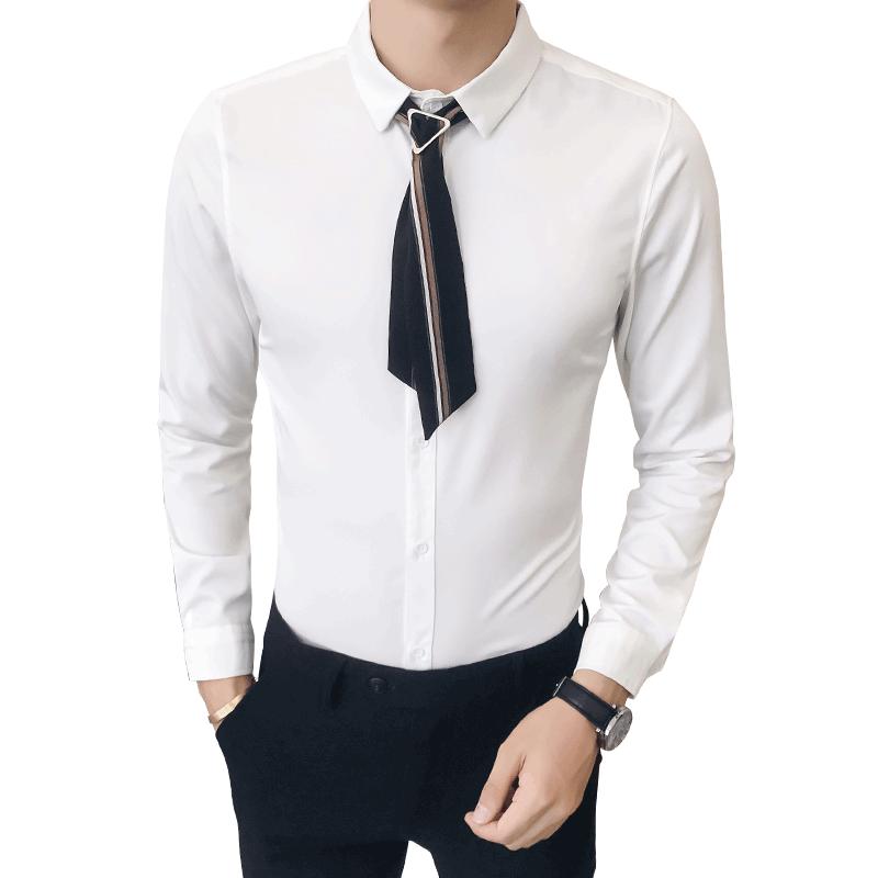 men Fashion white tuxedo shirt   4