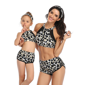 Family Matching Swimwear Mother Daughter Plaid Leopard Print Bikini Bathing Suit Kids Mom High Waist Swimsuit Summer
