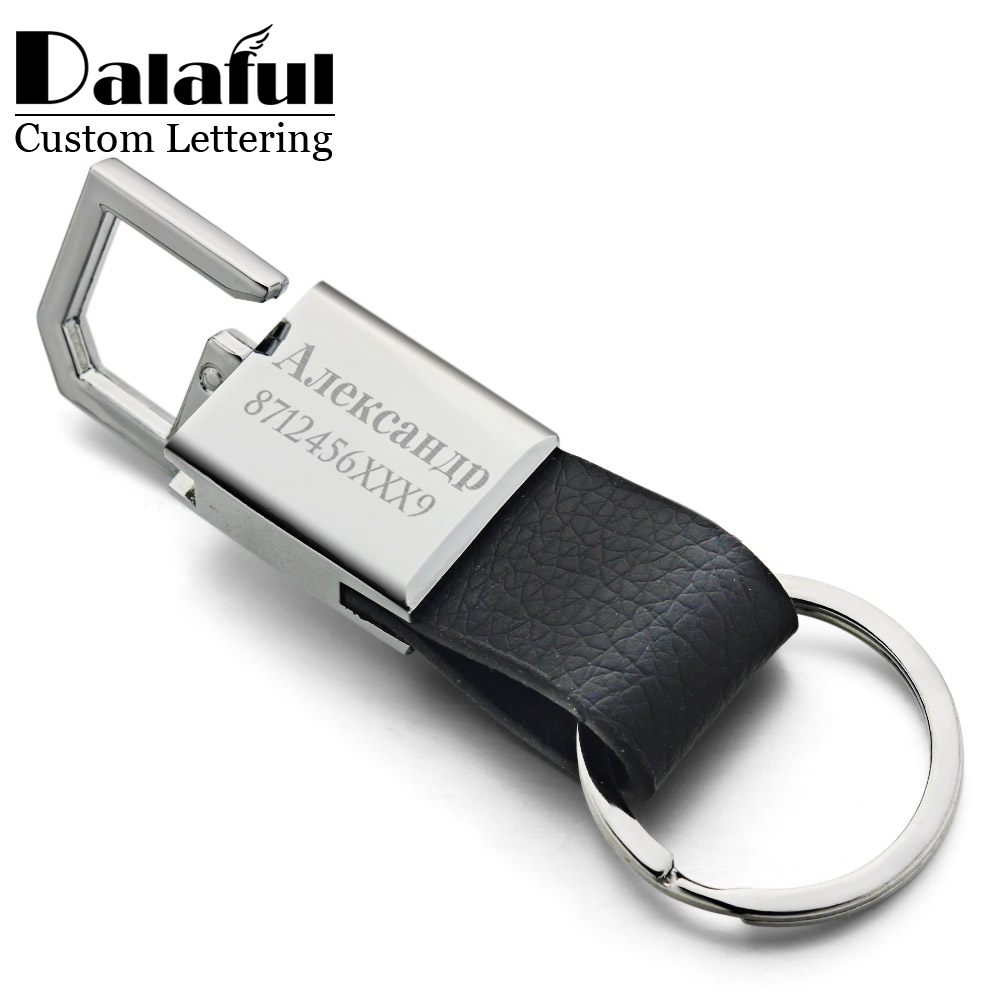 Custom Lettering Keychains Leather Keyrings Stainless Steel Engrave Name Customized Logo Personalized Key Chain For Car K371