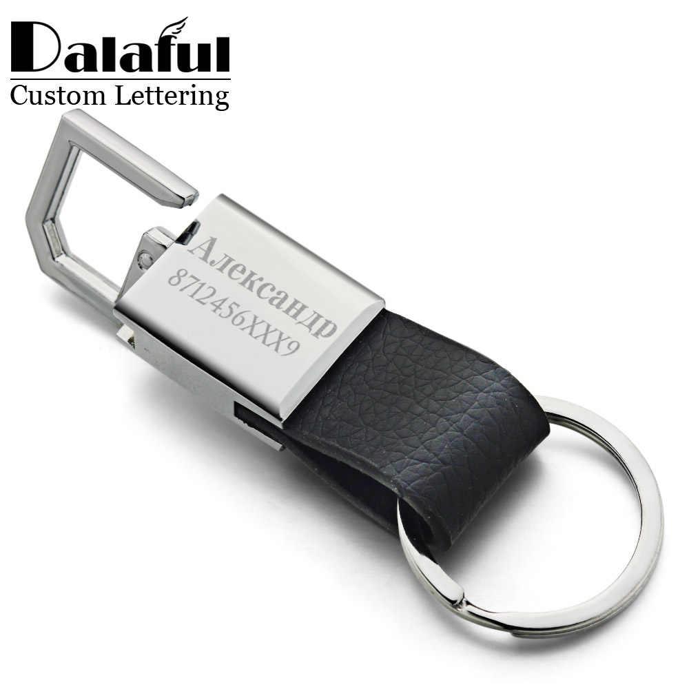 Logotipo personalizado chaveiro personalizado para o carro k371 chaveiros de couro de letras personalizadas gravam nome de aço inoxidável