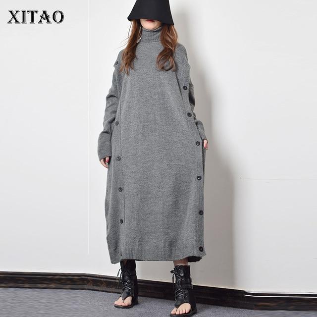 XITAO Taste Dekoration Gestrickte Casual Kleid Frauen 2019 Winter Grau Koreanische Mode Neue Stil Rollkragen Kragen Gerade GCC2040