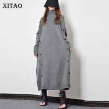 Xitao button decoração de malha casual vestido feminino 2019 inverno cinza coreano moda novo estilo gola gola reta gcc2040