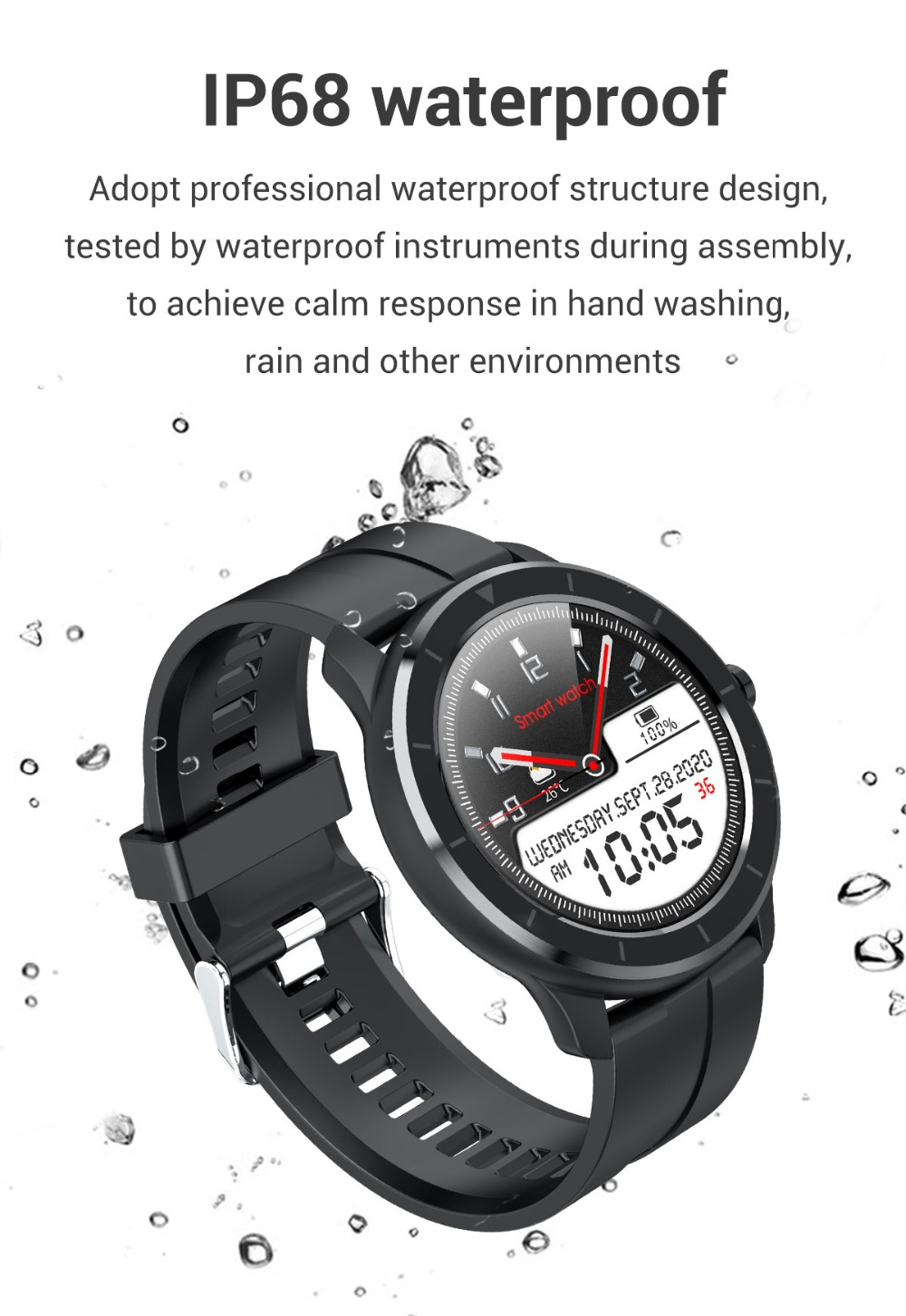 Smart Watch Round Dial Waterproof for iOS Android - Smartwatches - Simple, Long Lasting, Comfortable