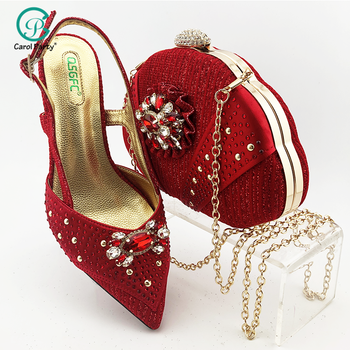 2020 New red Color Fashion Rhinestone Woman Shoes And Matching Bag Set Pretty Style Pumps Shoes And Bag Set For Party