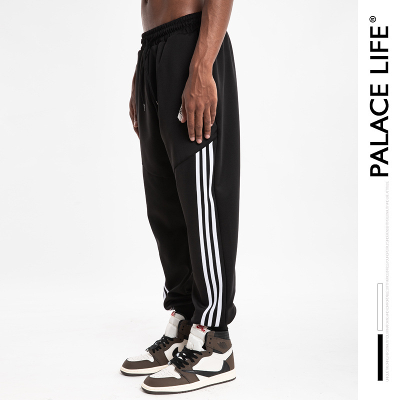 Palacelife Popular Brand Men'S Wear Triangular Logo Joint Three Lever Looped Pile Sweatpants Men And Women Couples Beam Leg Casu