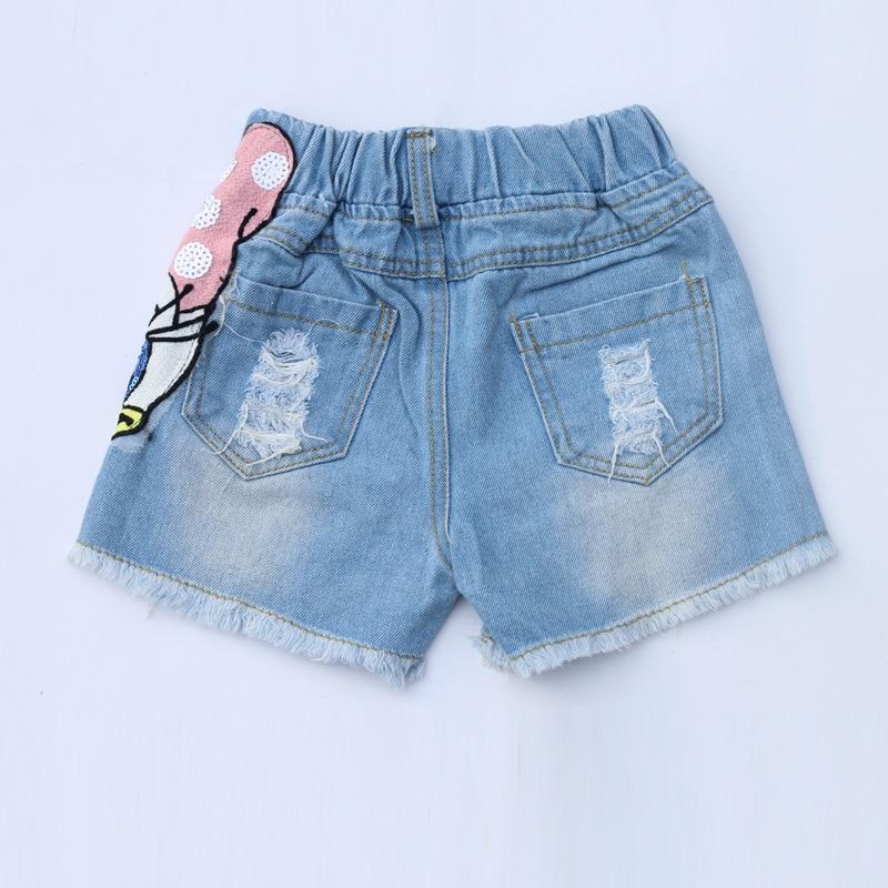 Girls Outfits Cartoon Duck Printed Summer Shirt&Sequins Broken Hole Denim Shorts Toddler Girls Clothing Set Children Clothes 4