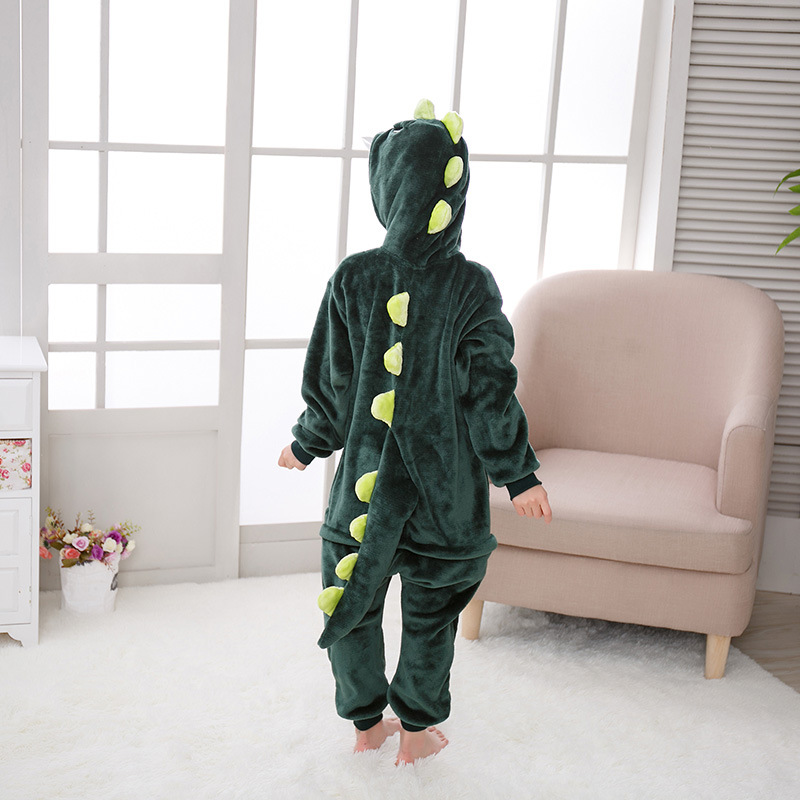 2019 New Style Children Cute Cartoon Dinosaur Animal One-piece Pajama Autumn And Winter Thick Warm Men And Women Home Wear