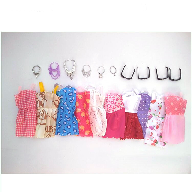20 Item/Set Doll Accessories = 10x Mix Fashion Cute Dress + 4x Glasses+ 6x Necklaces Dress For Dolls Clothes Party Gown Girl's