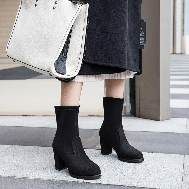 Lucyever Elegant Black High Heels Autumn Women Boots 2019 Winter Warm Ankle Botas Mujer Fashion Platform Round Toe Shoes Woman