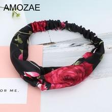 AMOZAE Knot Headband Fashion Girl Holiday Printing Foral Turban Elastic Hairband Head Wrap Hair Female Knotted Headwear
