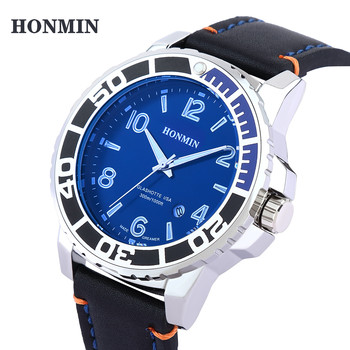 HONMIN Mens Watches Luxury Brand Fashion Quartz Watch Men Leather Sports Wristwatch Chronograph Clock Male Relogio Mascul junqiao military watches men sandalwood quartz wristwatch chronograph clock male fashion sports watch hardlex relogio masculino