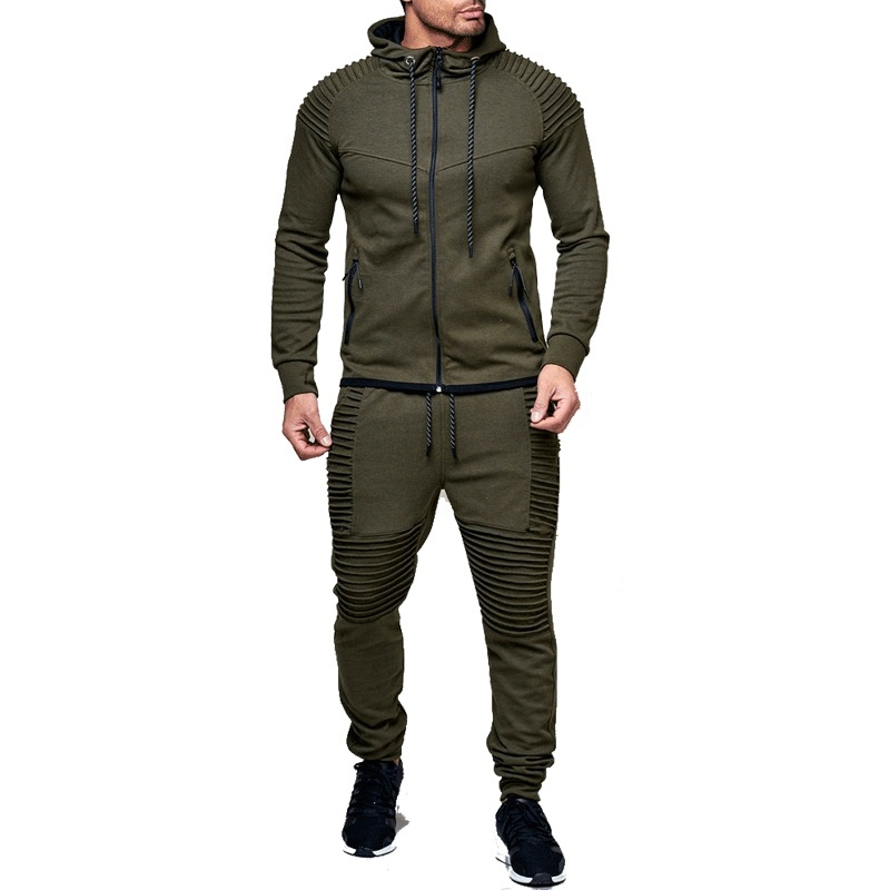 ZOGAA Men's Hooded Tracksuit Casual Solid Pleated Hooded Sweatshirt+Joggers 2 Piece Of Sets Autumn Male Sportswear Sweatsuit