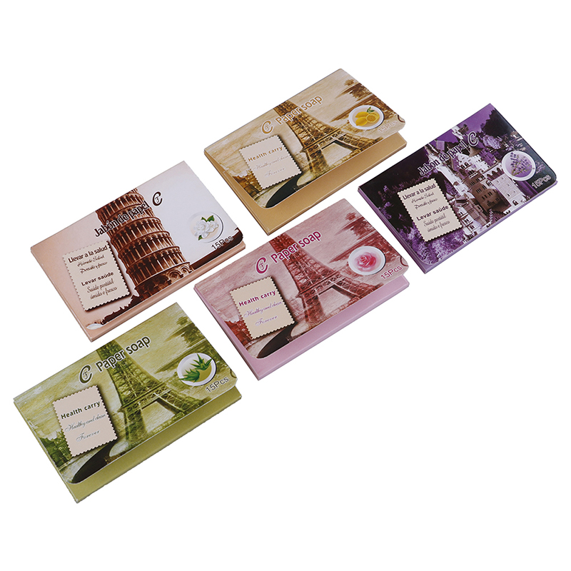 Hot Outdoor Travel Soap Paper Washing Hand Bath Clean Scented Slice Sheets 25pcs Disposable Boxe Soap Portable Mini Paper Soap