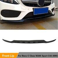 Front Bumper Lip Splitters For Mercedes Benz C Class W205 Sport C43 AMG 2015 2018 Front Bumper Lip PP Glossy Black