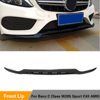 Front Bumper Lip Splitters For Mercedes Benz C Class W205 Sport C43 AMG 2015 2018 Front Bumper Lip PP Glossy Black
